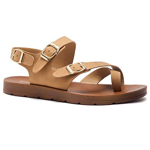 Herstyle Sure Thing Women's Open Toe Gladiator Flat Thong Sandals Fashion Greek Platform Low Wedge Shoes Tan - Thong Beige Tan