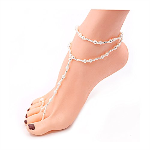 Daycindy Pearl Anklet Chain Bridal Barefoot Sandals for Wedding, Pack of 1 pcs