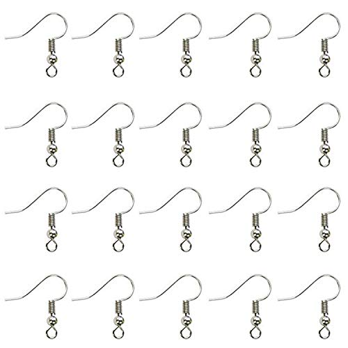 - Hapy Shop 600 Pcs Silver Plated Ball Coil Earring Hooks Fish Hook Earrings/Hoops/Ear Wire for DIY Jewelry Making
