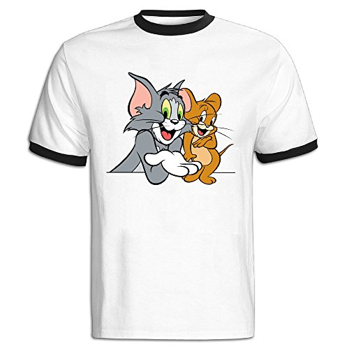 Men's Tom Cat And Jerry Mouse Color Block Tee Shirt