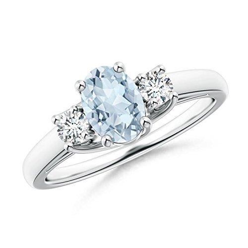 Angara Natural Aquamarine Three Stone Ring in 14k White Gold C2zLTagq1F