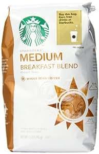 Starbucks Breakfast Blend Whole Bean Coffee, 12 Ounce