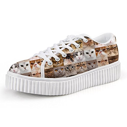 HUGS IDEA Cute Puppy Print Platform Shoes Fashion Lace Up Low Top Sneaker Cats FPnOpXT