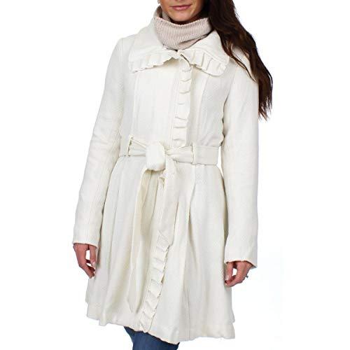 Steve Madden Womens Winter Wool Blend Basic Coat Ivory S