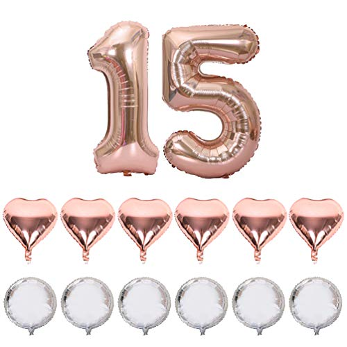 IN-JOOYAA 40 in Big Number 15 Mylar Balloons Rose Gold 15th Jumbo Foil Number Balloon for 15 Birthday Party Anniversary Celebrate Party -
