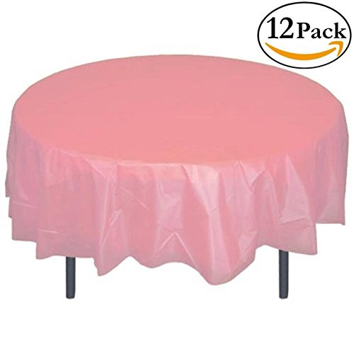 12-Pack Premium Plastic Tablecloth 84in. Round Table Cover - (Pink Disposable Tablecloths)