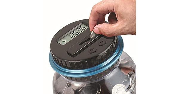 Wifehelper Pantalla LCD Digital Money Box Jar Euro Coin Counting Box Caja de Ahorro de Dinero para Ni/ños y Adultos