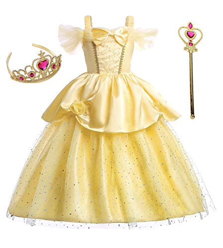 Girls Princess Belle Fancy Party Dresses With Accessories Age Of 11-12 Years(Yellow) -