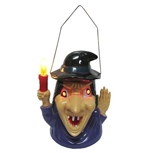 Halloween Witch Lantern with Spooky Scary Sounds Light Decoration without Battery]()