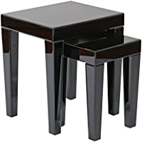 AVE SIX Reflections Nesting Tables, Black Glass