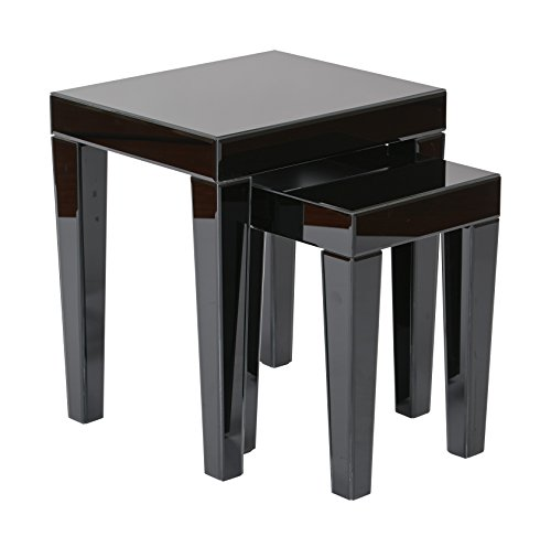 [AVE SIX Reflections Nesting Tables, Black Glass] (Black Glass Nesting Tables)