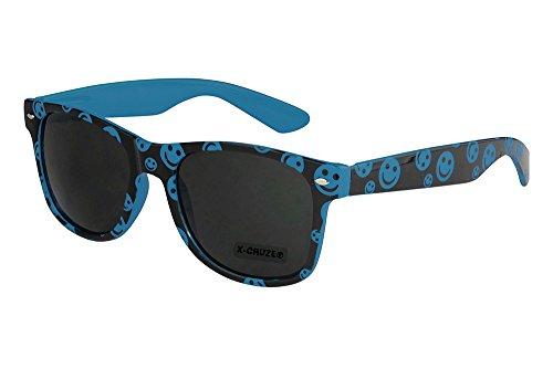 mujer nerd azul Gafas retro 8 vintage hombre CRUZE® smilies sol unisex gafas 036 nerd X negro de TP1q1Z