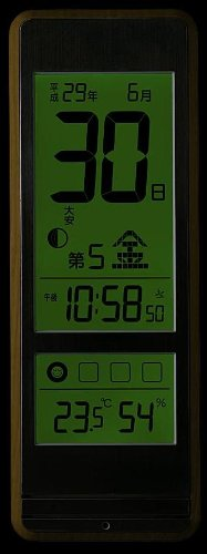 With Casio temperature and hygrometer living environment inform Roku—jdisplay Himekuri radio clock IDL-400NJ-5JF tea woodgrain IDL-400NJ-5JF by Casio