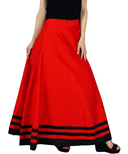 avec Rouge soie faux maxi ligne boho d'une Bimba jupe chics jupes long coulisse Fq7vUv