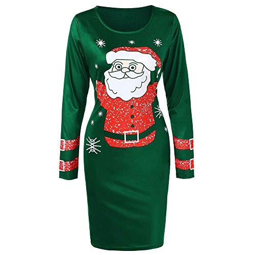 iYBUIA Christmas Dress, Fashion Women O-Neck Long Sleeve