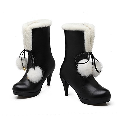 Allhqfashion Women's High-Heels Round Closed Toe Blend Materials Mid-Calf Boots Black ztfxF4aBD