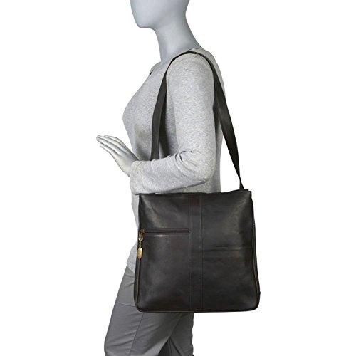David King & Co. Double Top Zip Shoulder Bag 820, Black, One - Handbag David King Zip Top