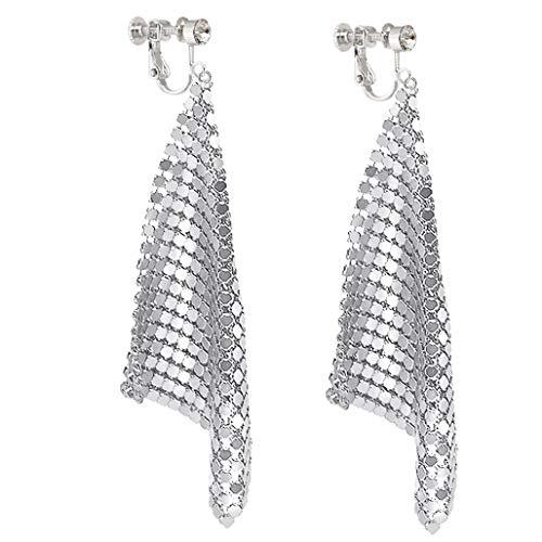 Long Dangle Rhinestone Clip on Earrings Trendy Women Metal Mesh Grid Sequins Tassel Long Drop Silver-tone