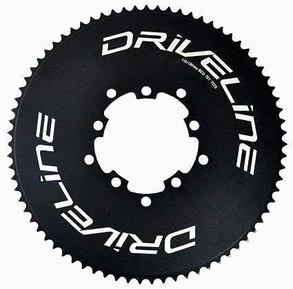 Driveline AL7075 Road Bike Bicycle TT Chainring 56T Black x White BCD 130mm