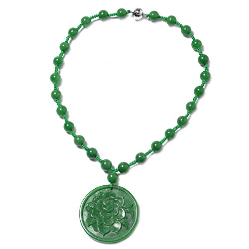 925 Sterling Silver Green Jade Hand Carved Flower Pendant with Bead Necklace 18