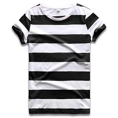 - Striped T Shirt Women Crew Neck Short Sleeve Stripes Tees Tops Black White XS