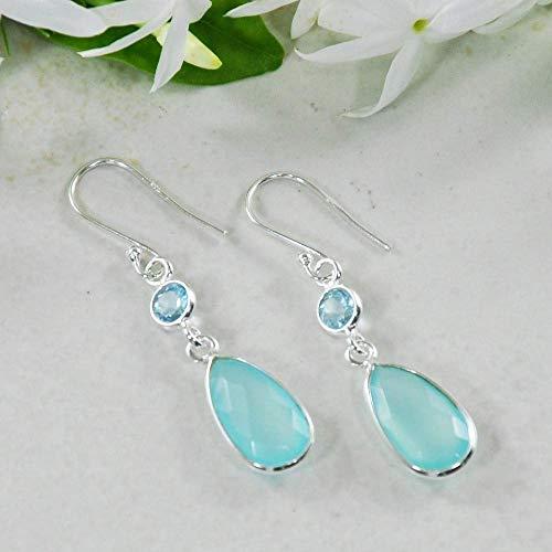 Peruvian Blue Opals - Sivalya Peruvian Opal and Blue Topaz Teardrop Earrings in 925 Sterling Silver - Solid Silver French Hook Dangle Earrings - 1.75