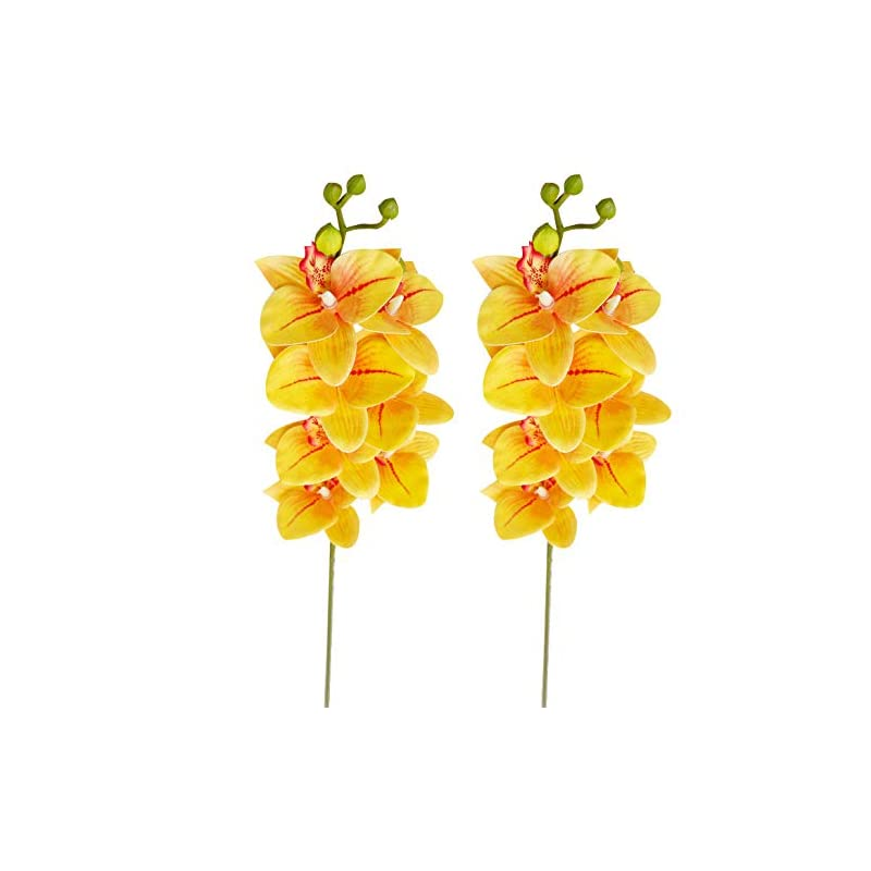 silk flower arrangements xilyya 2pcs real touch artificial phalaenopsis orchids spray silk wedding flowers faux orchids stems home wedding table decor (yellow)