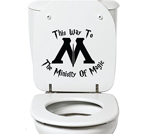 YINGKAI This Way to the Ministry of Magic Toilet Harry Potter Decal Sticker Vinyl Carving Decal Sticker for Toilet Decoration]()