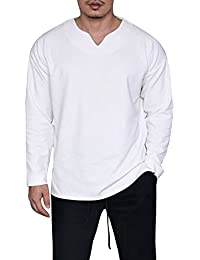 Mens Casual Basic Loose Fit V Neck Long Sleeve Split Side T-Shirt Tops