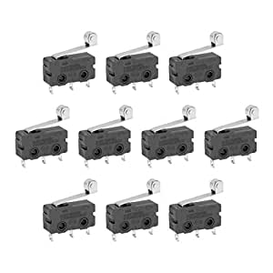 uxcell 10 Pcs G605-150S06A Micro Limit Switch Roller Lever Subminiature SPDT Snap Action LOT