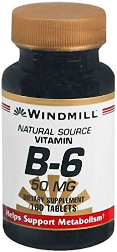 Windmill Natural Source Vitamin B-6, 50 mg Tablets - 100 Count (6 Pack)