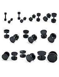TEMEGO Jewelry Mens Polished Stainless Steel Classic Round Stud Earrings Set, 10 Pairs, Black