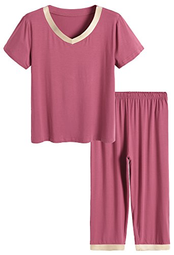 Latuza Women's Sleepwear Tops with Capri Pants Pajama Sets M Brick Red