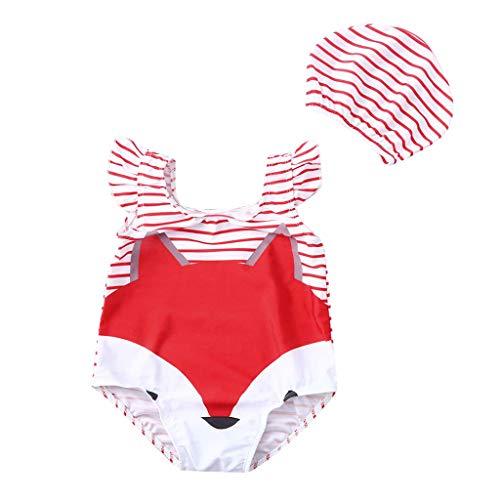 (Kehen- Kid Swinsuit Toddler Baby Boy Girl Swimwear 2pc Fox Print Beach Romper + Hat Outfit Red 3-4T)