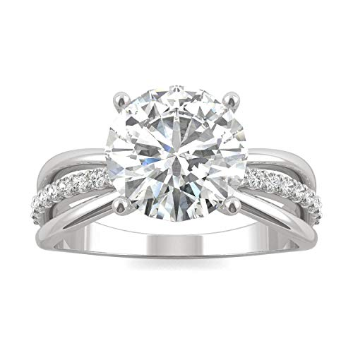 14K White Gold Forever Brilliant 9mm Round Engagement Ring- size 7, 2.90cttw DEW by Charles & Colvard