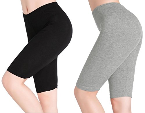 CnlanRow Women Solid Stretch Under Skirt Shorts Ultra Soft Knee Leggings Yoga Short Pants