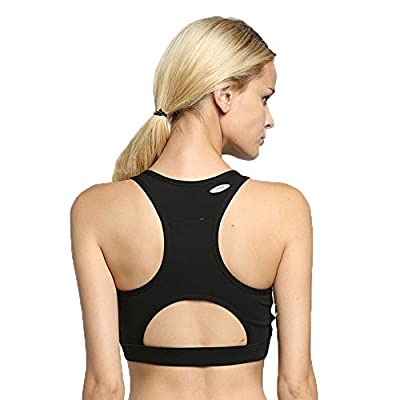WANAYOU Women's Sports Bra With Back Pocket Medium Impact Running Yoga Bra Workout Activewear Tops Racerback