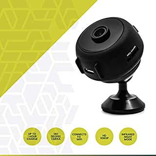HAWKi WiFi Mini Camera [2020 Release] Wireless Hidden | 1080P HD Quality | Infrared Night Vision | Motion Detection w/Phone alerts | Records to Cloud Storage or SD Perfect for in Home, Office, car