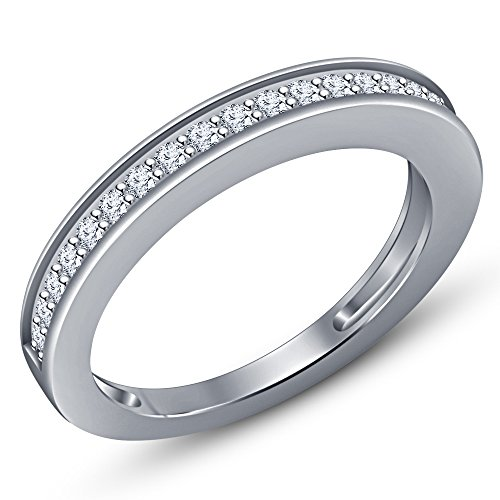 Vorra Fashion 14k White Gold Plated Round Cut White CZ Wedding Band Ring For Women's (8.5) from Vorra Fashion