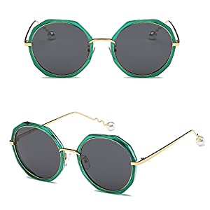 pearl spiral personality mirror trend polarized sunglasses irregular circular sunglasses for men and women,C14 green box black gray