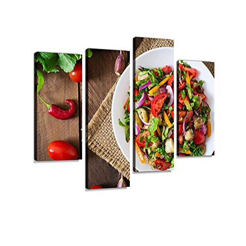 Salad Baked Eggplant and Fresh Tomatoes Canvas Wall Art Hanging Paintings Modern Artwork Abstract Picture Prints Home Decoration Gift Unique Designed Framed 4 Panel ()