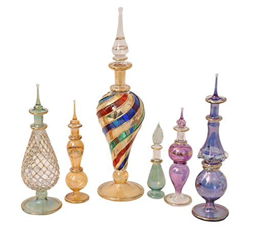 CraftsOfEgypt Genie Blown Glass Potion Potions Decorative Miniature Decorative Egyptian Perfume Bottles Mix Set of 6pc