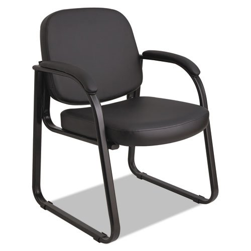 Alera ALERL43C16 Genaro Series Sled Base Guest Chair, Black Vinyl ()