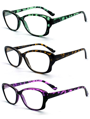 Eye-Zoom 3 Pack Cat Eye Tortoise Color Frame Reading Glasses for Women (Green, Yellow and Purple, Strength: - Color Tortoise