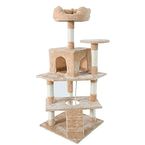 Beige Cat Furniture Tower (Dipet Cat Tree Furniture Kittens Activity Tower 59.5