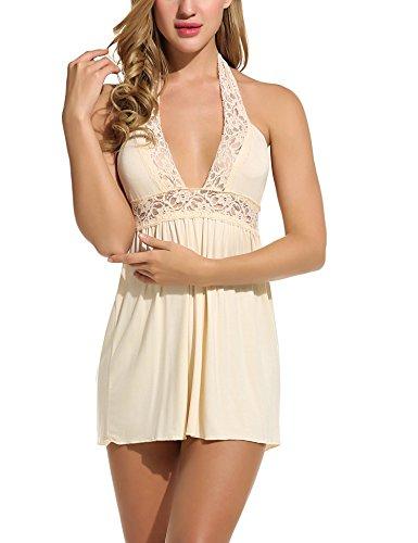 (Avidlove Women Lingerie Lace Chemise Sleepwear Babydoll Set Mini Dress (XL, Beige(Halter Style)))
