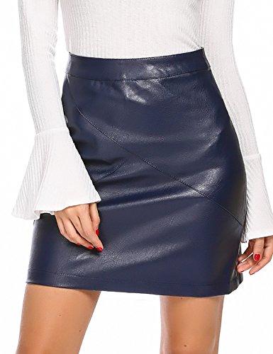 Soft Leather Skirt - Zeagoo Women Classic High Waisted Faux Leather Bodycon Slim Mini Pencil Skirt(Navy Blue XXL)