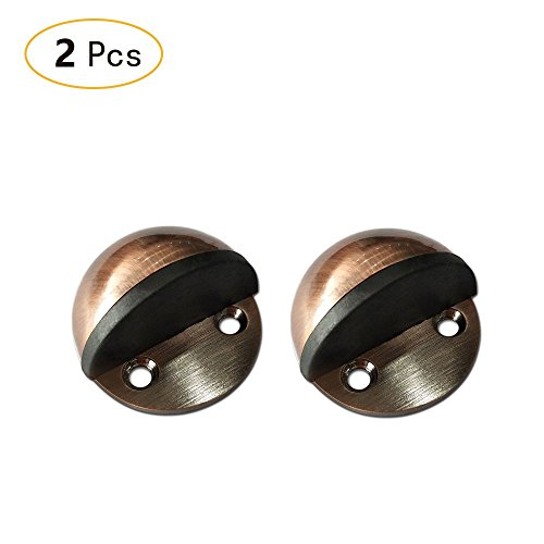 Bronze Oval Door Stop - Zhi Jin 2Pcs Stainless Steel Drilling/Adhesive Door Stopper Floor Mounted Doorstop with Rubber Bumper Red Bronze