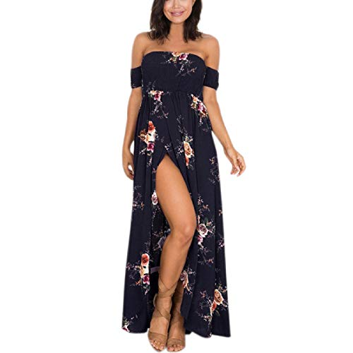 Wintialy Large Size Women Boho Off Shoulder Floral Dress Ladies Long Maxi Dress Navy