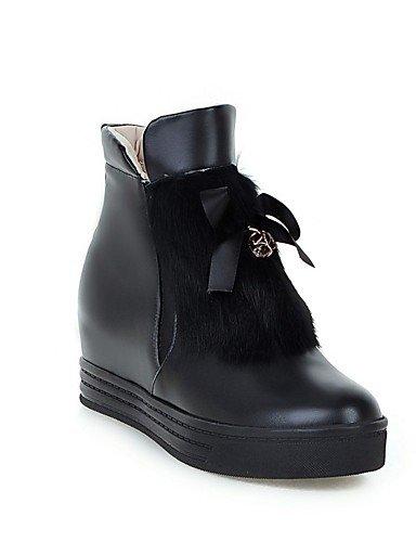 XZZ/ Damen-Stiefel-Lässig / Kleid-PU-Flacher Absatz-Flache Schuhe-Schwarz / Rot / Weiß / Grau black-us8 / eu39 / uk6 / cn39